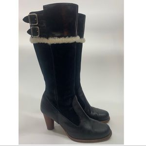 Ugg 5598 Raya black leather tall heel boots size 8